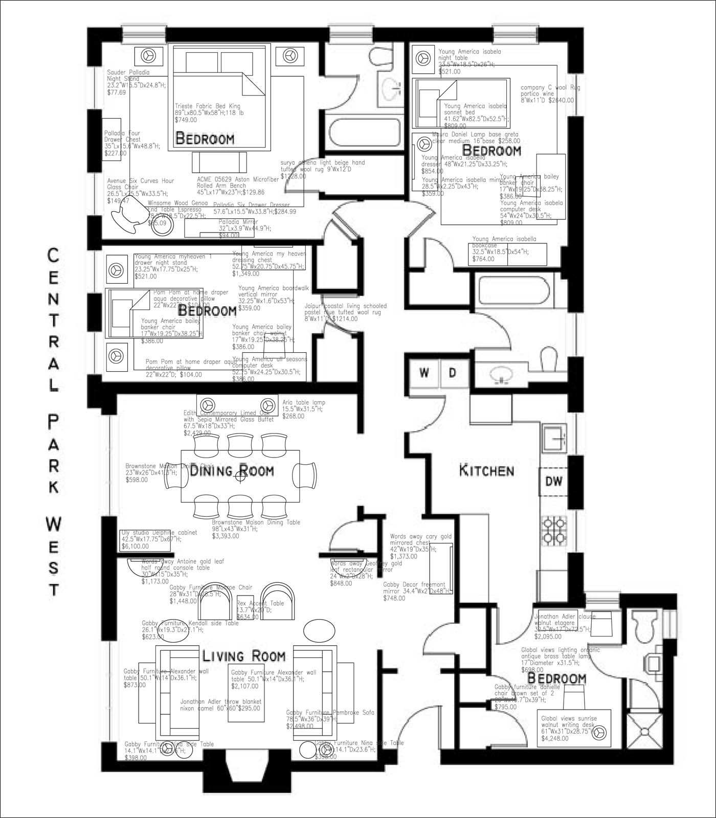 Furnish It: 370 Central Park West, Apartment 201